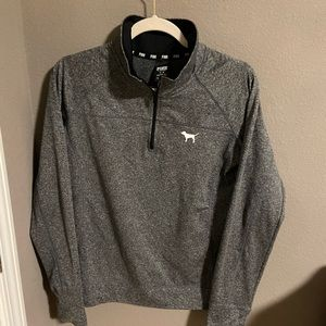Pink quarter zip long sleeve top in heather grey